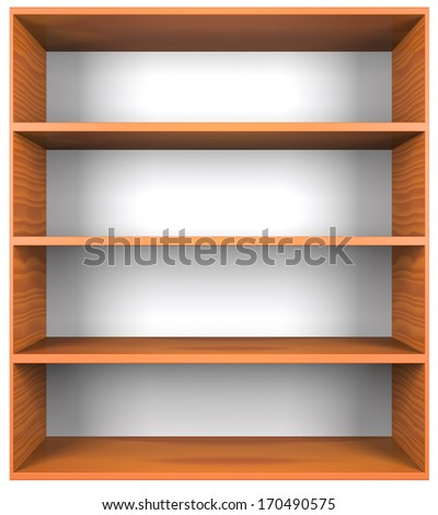 Wooden shelves with empty racks isolated on white background