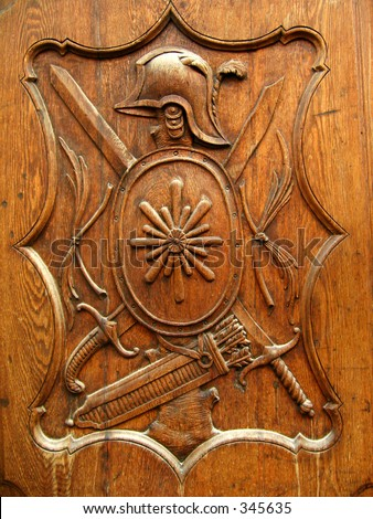 wooden shield - stock photo