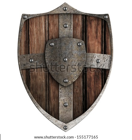 wooden shield isolated on white - stock photo