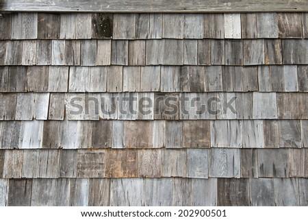 Wooden shingle background - stock photo