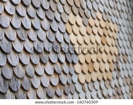 Wooden shingle, Facade detail - stock photo