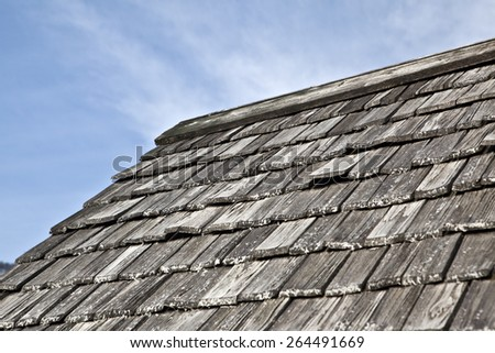 wooden shingle rooftop - stock photo
