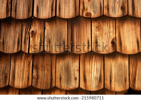 Wooden shingled roof - stock photo