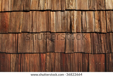 wooden shingles great for background or grungy wallpaper - stock photo
