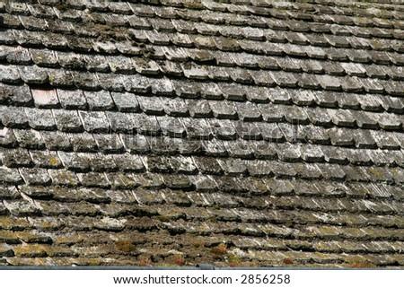 wooden shingles in sunlight - stock photo