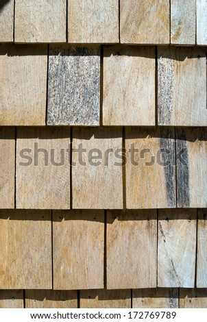 wooden shingles roof pattern - stock photo