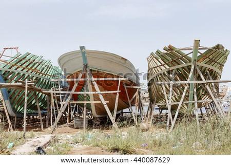 Wooden ship factory, Ezbet El-Borg. - stock photo