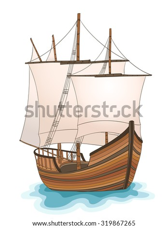 wooden ship illustration. raster version