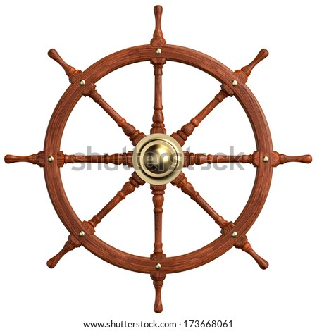 Wooden Ship Wheel isolated on white. Clipping paths - stock photo