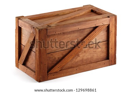 wooden shipping box closed isolated - stock photo