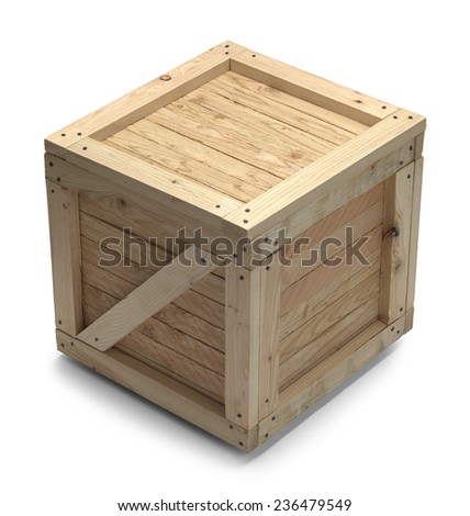 Wooden Shipping Crate With Copy Space Isolated on White Background.