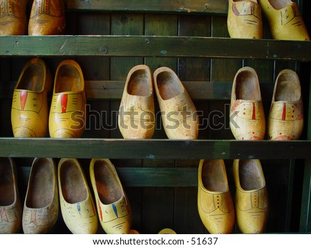 wooden shoes - stock photo