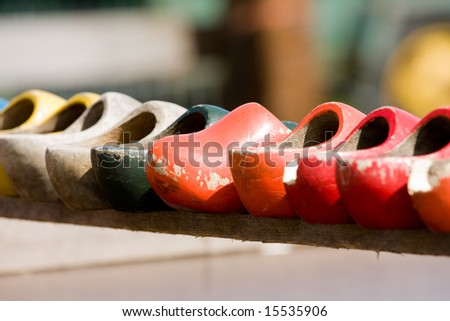 Wooden shoes on a row