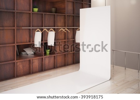 Wooden showcase and blank poster in store interior. Mock up, 3D Render - stock photo