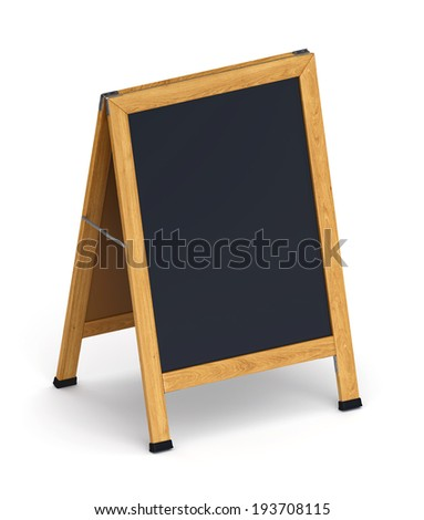 Wooden sidewalk sign with blank black menu board isolated on white background - stock photo