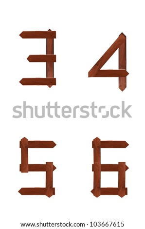 Wooden sign 3 4 5 6 alphabet character isolated on the white background.