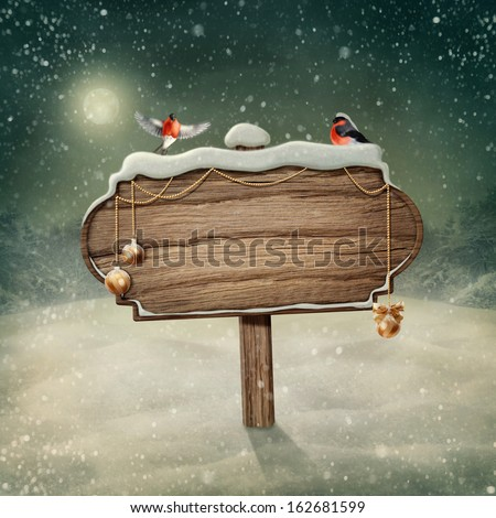 Wooden sign and birds in snow - stock photo