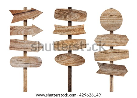 Wooden sign board isolated on white. Wood planks wooden signs post. Rustic wood arrow sign. Directional sign made of old wood. Various empty texture wooden sign, Objects with Clipping Paths for design - stock photo