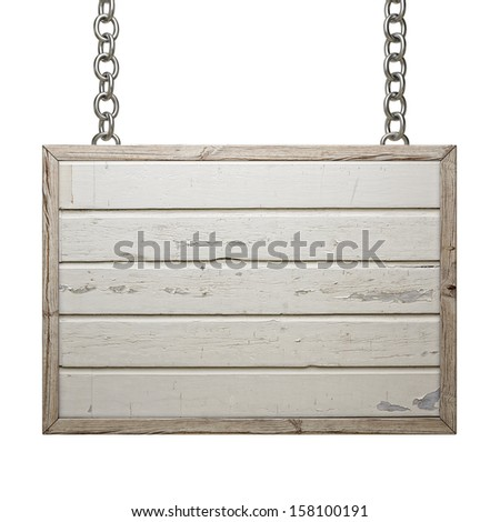 Wooden Sign Board on Chain Isolated on White Background, Rectangular Board - stock photo