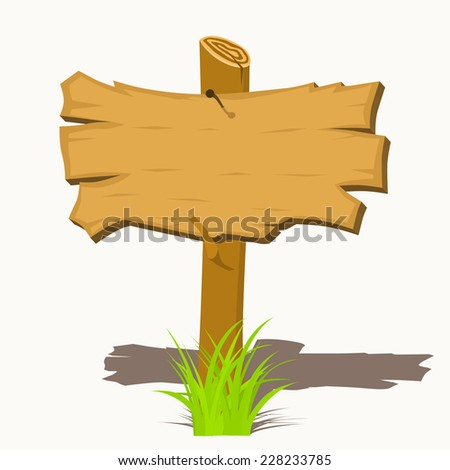 Wooden sign boards on a grass. Illustration isolated on white - stock photo