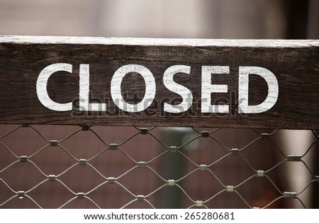 Wooden sign CLOSED - stock photo
