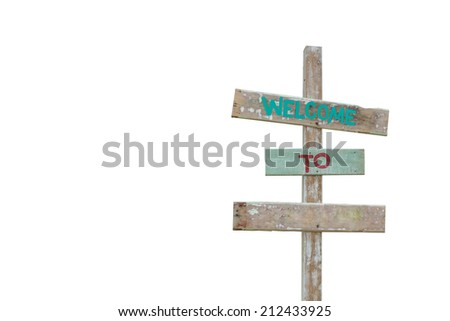 Wooden sign farm style isolated on white