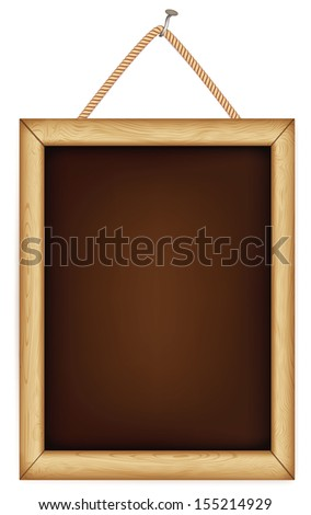 wooden sign hanging on a rope. Rasterized illustration. Vector version in my portfolio - stock photo