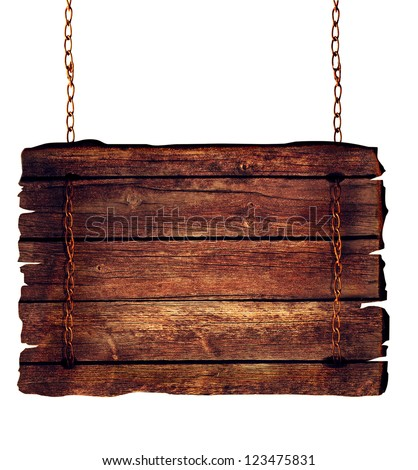 Wooden sign hanging on chains isolated on white. - stock photo
