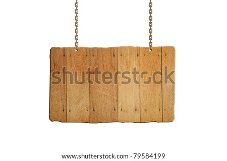 wooden sign hanging. with clipping path. - stock photo