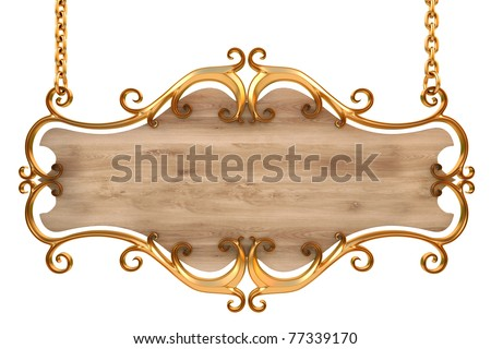 wooden sign in a gold frame with chains. isolated on white. with clipping path. - stock photo