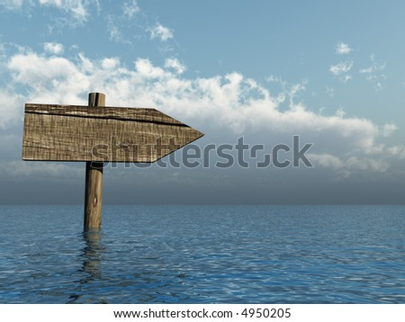 wooden sign in water - 3d illustration