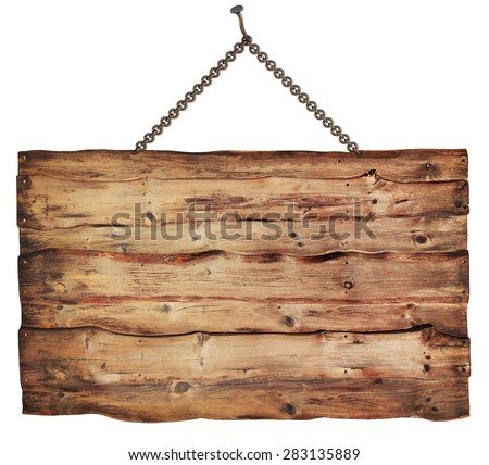 wooden sign isolated on a white background - stock photo
