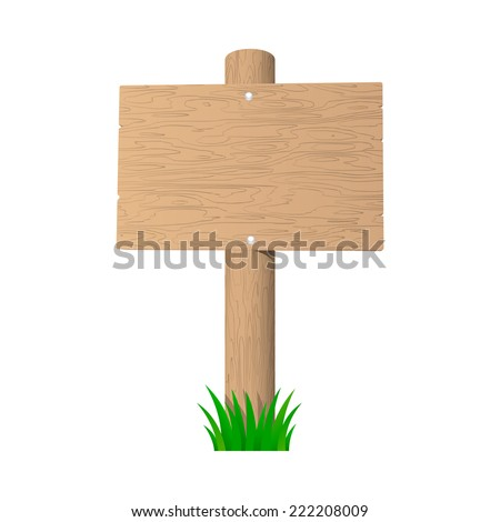 Wooden sign isolated on the white background. 2d illustration - stock photo