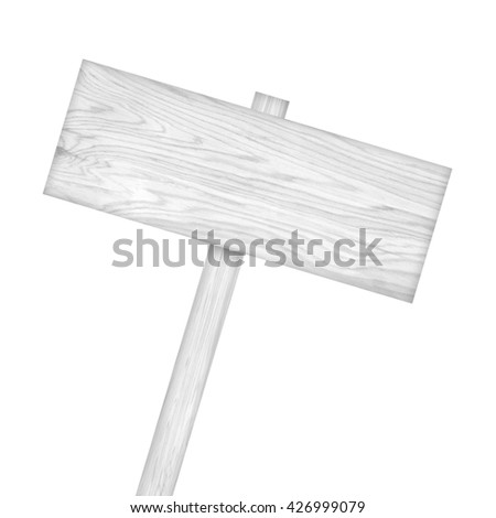Wooden sign isolated on white background