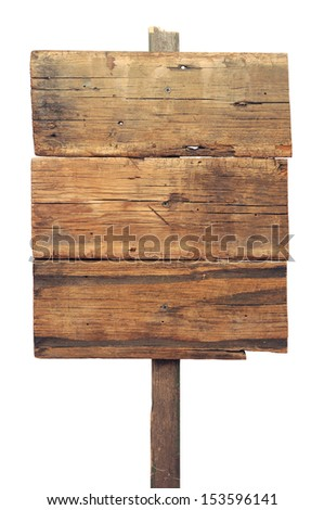Wooden sign isolated on white. Wood old planks sign. - stock photo