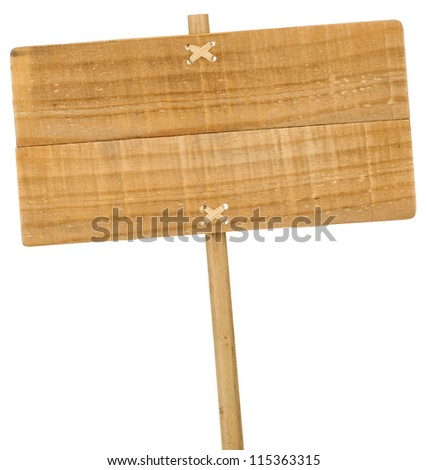 wooden sign isolated over white background, with banboo post - stock photo