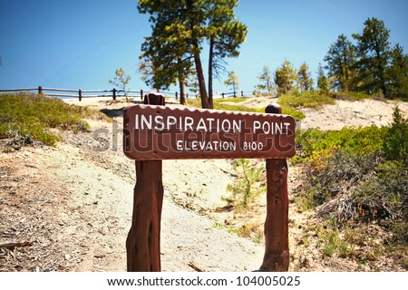 Wooden Sign Marker for Inspiration Point at Bryce Canyon National Park in Utah, United States - stock photo