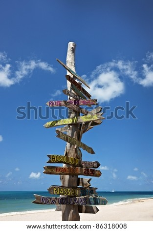 Wooden sign on beach in Key West - stock photo