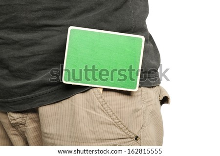 Wooden sign on male pants isolated over white background - stock photo