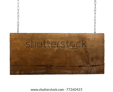 Wooden sign on metal chain over white background