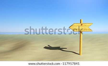 Wooden sign on the beach - stock photo