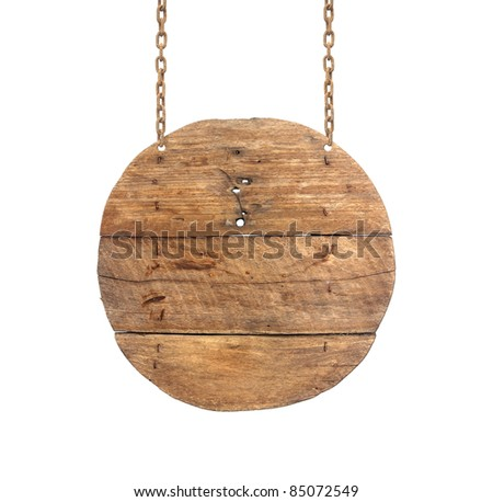 wooden sign on the chains. - stock photo