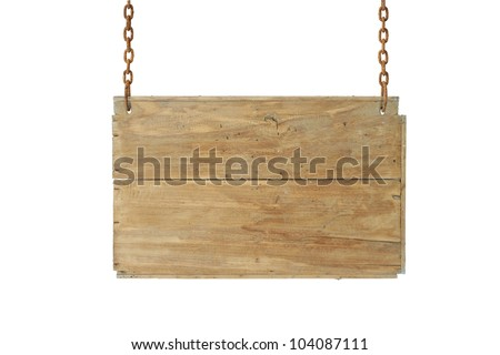 wooden sign on the chains on white. - stock photo