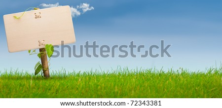 wooden sign on the left side of a green land with a blue sky, with one cloud, horizontal banner image - stock photo