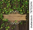 wooden sign on the wall covered with ivy. - stock photo