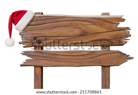 wooden sign plate with red Santa's hat