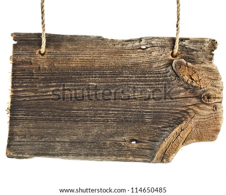 wooden sign pointer board isolated on white background