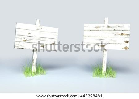 Wooden Sign Posts A set of white painted, wooden sign posts, semi isolated on gray. 3d render