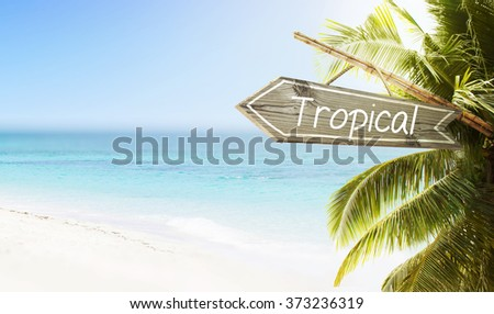 Wooden sign Tropical on white sand beach summer background. Lush tropical foliage and sunshine. Blue ocean at perfect day. No people.  - stock photo