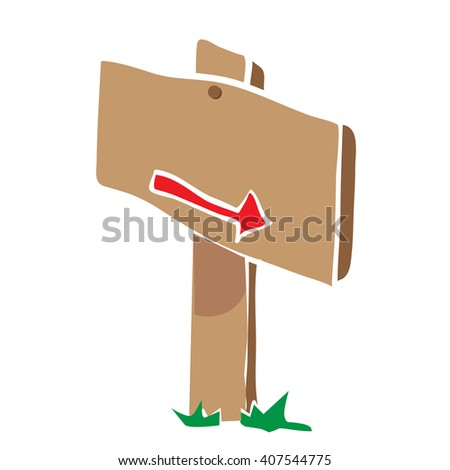 wooden sign with arrow cartoon - stock photo